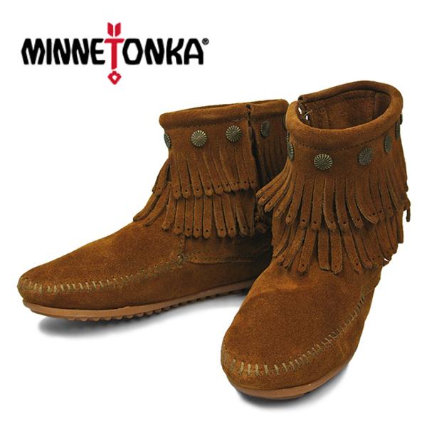 【10%OFF】ミネトンカモカシン ダブルフリンジサイドジップブーツ ブラウン/ スエード ミネトンカシープスキンブーツ 女性用靴