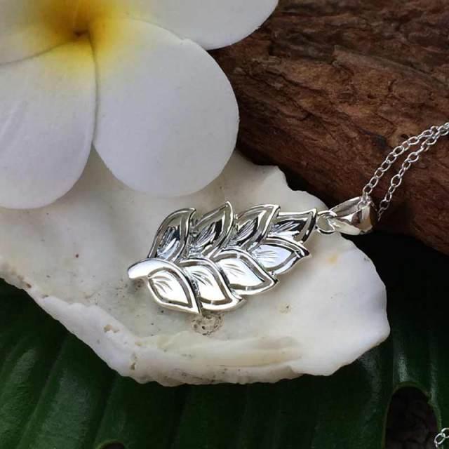シルバーチェーン付きハワイアンジュエリー  マイレネックレス シルバー/ハワイアンアクセサリー SILVER925