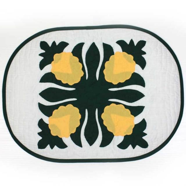 14fw-pinemat ハワイアンキルト ランチマット  パイナップル柄 W47xH35cm