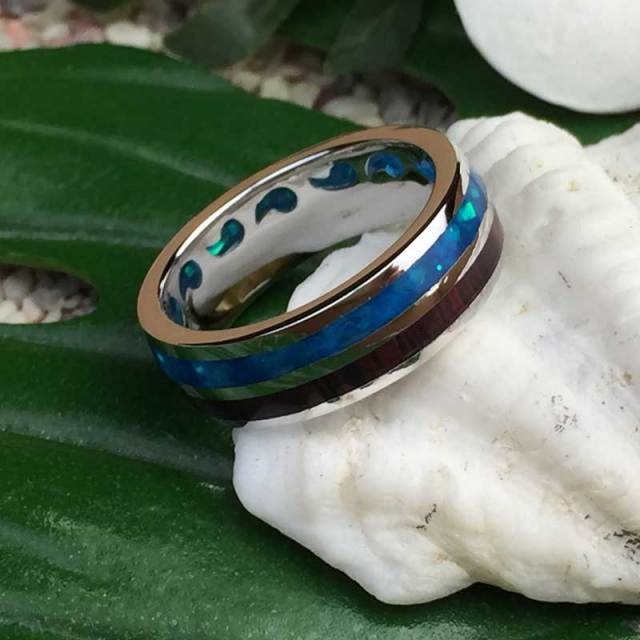 ハワイアンジュエリー コアウッド×ストーン シルバーリング 幅太/WAVE 指輪