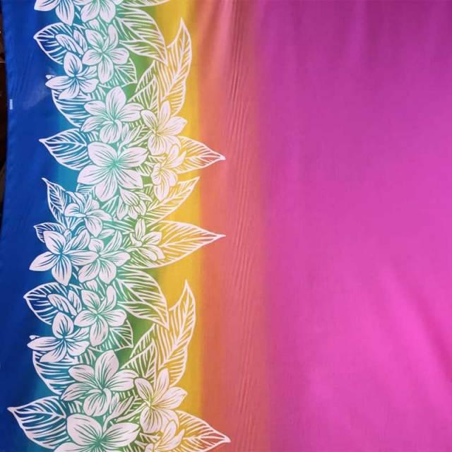 ハワイアン生地 ピンクレインボー プルメリア柄