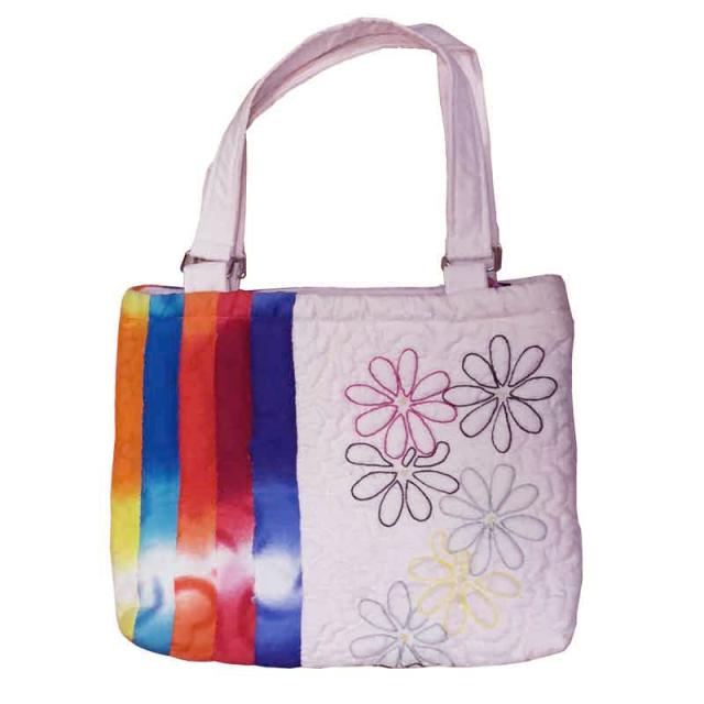 ハワイアンキルト バッグ プルメリア×レインボー柄 ジッパー・ポケット付き/Hawaiianquilt レディースバッグ