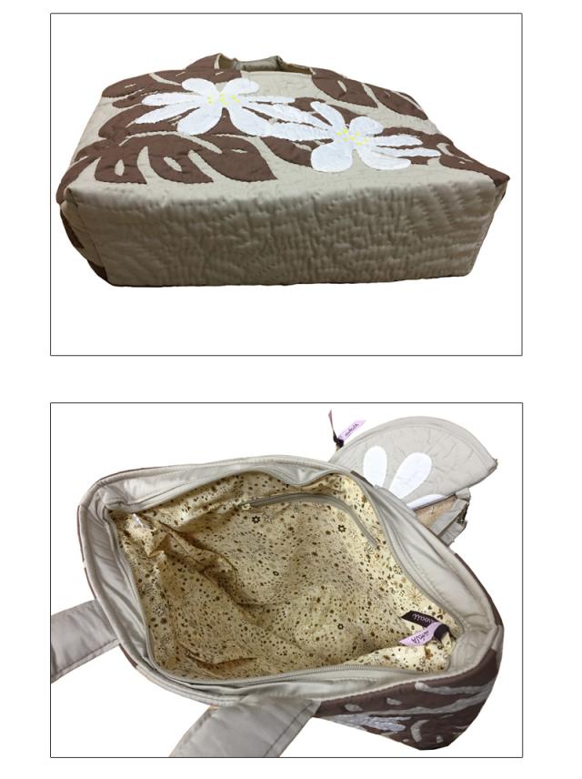 ハワイアンキルトバッグ モンステラ×ティアレ柄 ベージュ ポーチ付き大/Hawaiianquilt レディースバッグ