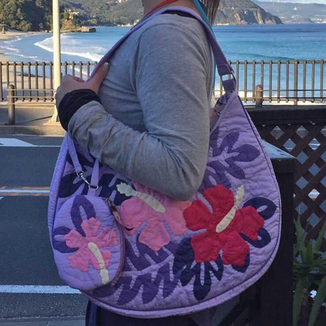 ハワイアンキルト2WAYバッグ ハイビスカス柄 パープル ポーチ付き/Hawaiianquilt レディースバッグ