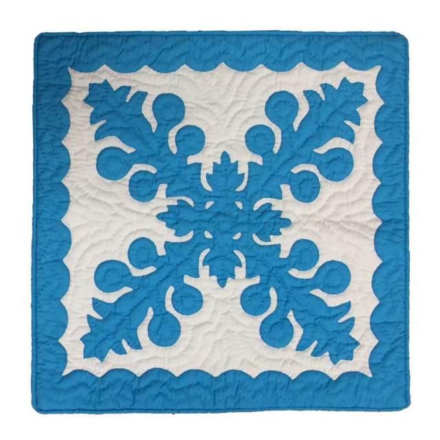 ハワイアンキルト クッションカバー46cm×46cm ブルー/インテリア Hawaiianquilt ハワイアン雑貨