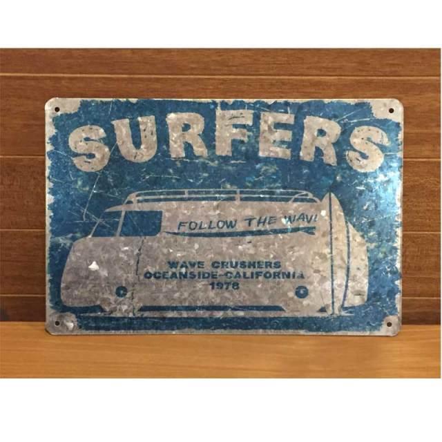 Antique Tin Plate レトロ調 ティンプレート MP16002 Surfers/サインプレート看板 サインボード アルミニウムプレート アメリカ雑貨