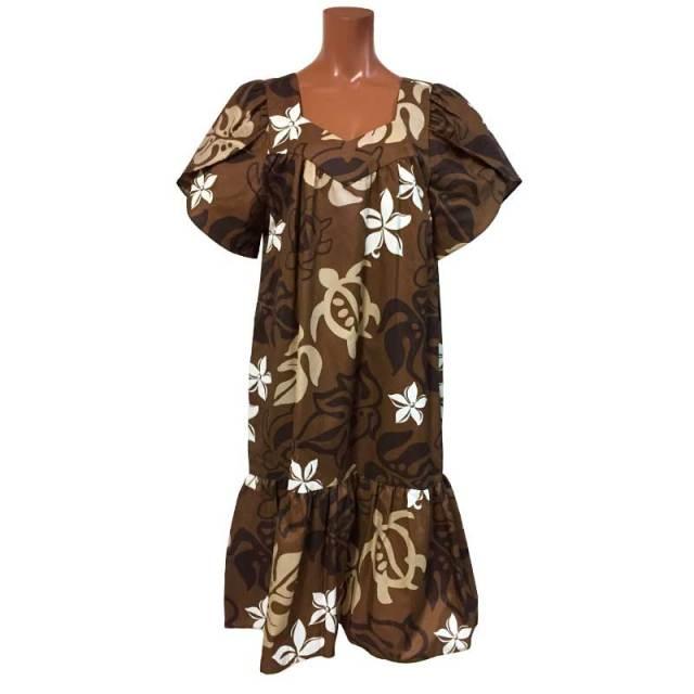 ハワイアンムームー ブラウン モンステラ×プルメリア×ホヌ/ロングドレス レディースウェア 女性用ウエア フラダンス