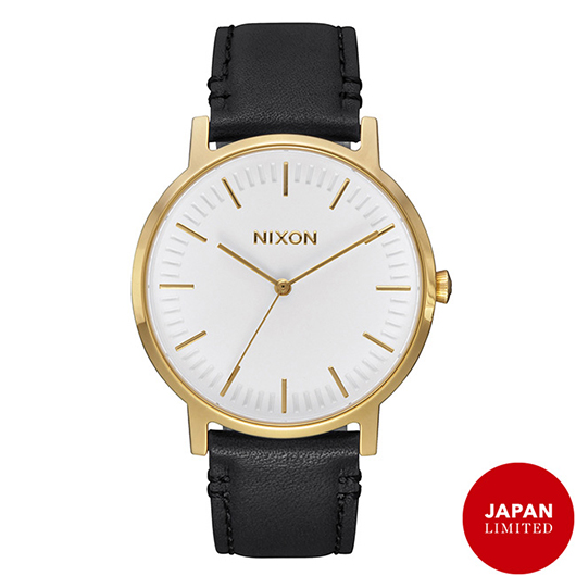 NIXON 腕時計 THE PORTER LEATHER GOLD/BLACK JP/メンズウォッチ