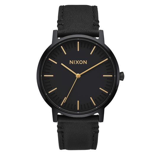 NIXON 腕時計 THE PORTER LEATHER ALL BLACK GOLD/メンズウォッチ