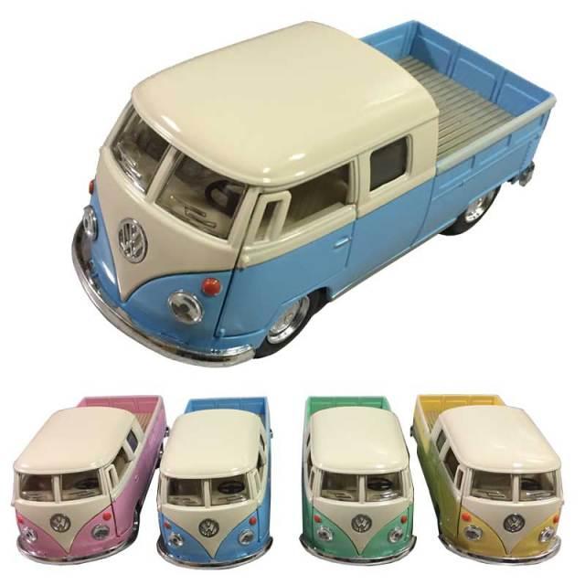 レトロ調フォルクスワーゲン ダイキャストミニカー/おもちゃ インテリア 1963 VW Bus Double Cab Pickup Pastel Color 1/34