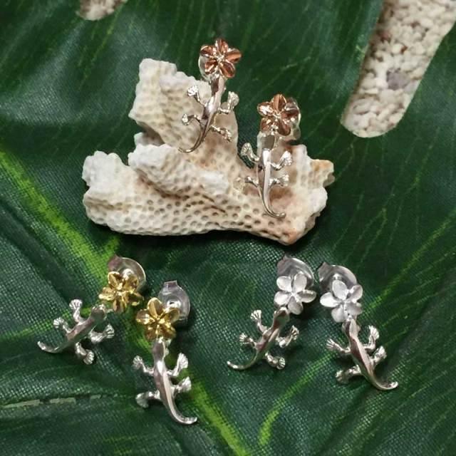 ハワイアンジュエリー シルバーピアス ゲッコー×プルメリア/シルバー hawaiian jewely