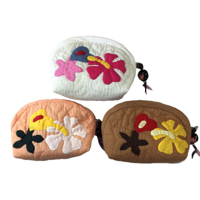 ハワイアンキルト Hawaiian Quilt ハイビスカス&ククイポーチ /ハワイアンキルト  バッグ ハワイアン雑貨