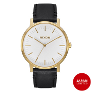 NIXON 腕時計 THE PORTER LEATHER GOLD/BLACK JP/メンズウォッチ