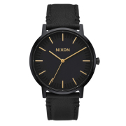 NIXON 腕時計 THE PORTER LEATHER ALL BLACK GOLD/メンズウォッチ