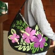 ハワイアンキルト バッグ モンステラ×ハイビスカス柄 ポーチ&肩掛けストラップ付き/Hawaiianquilt レディースバッグ