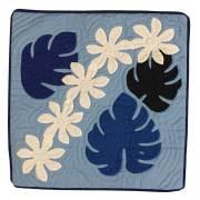 ハワイアンキルト 45cm×45cm用クッションカバー ティアレ×モンステラ柄 ブルー/Hawaiianquilt インテリア ハワイアン雑貨