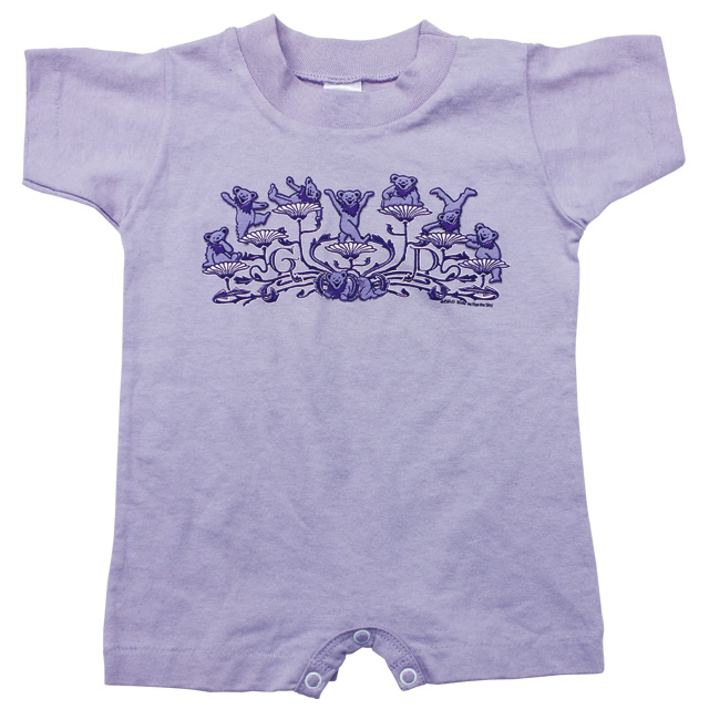 KIDS GD BEAR FLOWERS SHORT SLEEVE PURPLE ROMPER  BABY KID'S JUMP SUIT