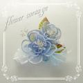 フォーマルコサージュ[c001-blue]二つの花の癒し系フラワーコサージュ/水色/入園式・卒園式・入学式・卒業式[p1]
