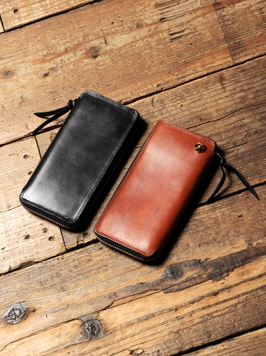 CALEE  「PLAIN LEATHER ROUND ZIP LONG WALLET 」 レザーウォレット
