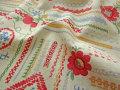 【綿麻キャンバス】 ≪ YUWA ≫ 刺繍風 プリント ステッチレッスン ナチュラル×レッド