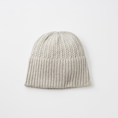 long rib knit cap tiny rope cashmere100