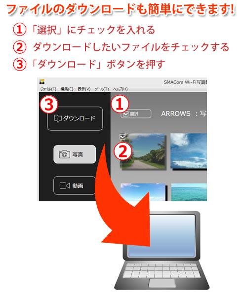 ファイルのダウンロードもワンクリックで簡単にできます!