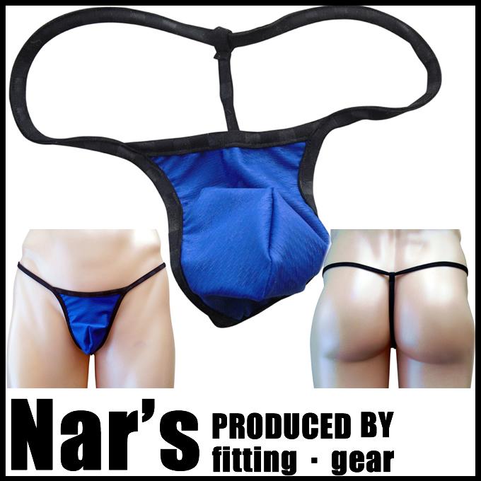 メンズ ネイビーブルー 波型柄 Gストリング(8842)Nar's/フィッティングギア