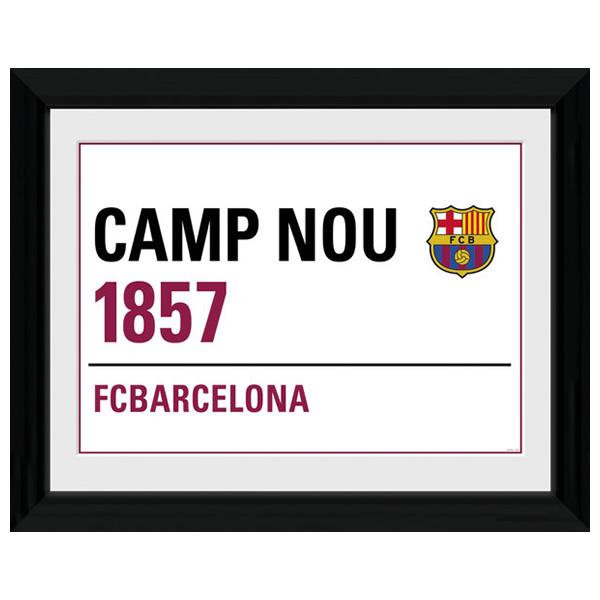 FCバルセロナ 額入りオフィシャルポスター Street Sign 40x30cm