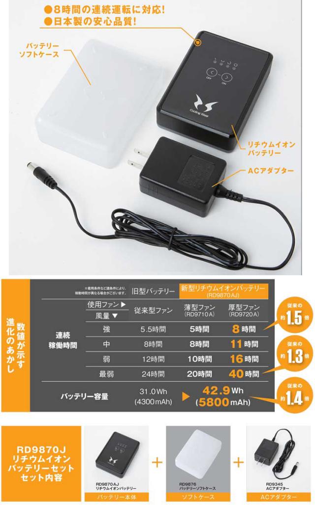 【送料無料】 (日本製バッテリー) 【サンエス】 空調風神服専用リチウムイオンバッテリーセット [RD9870J]