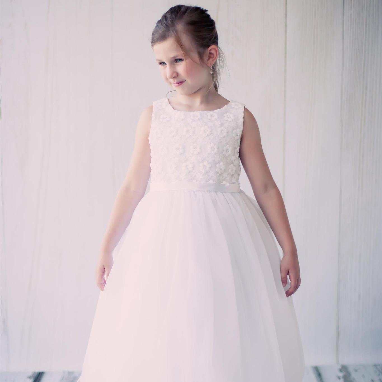 シンプルコレクション〜花刺繍のチュールドレス「Simple Collection Flower Embroidered Girls Tulle Dress」2歳から14歳