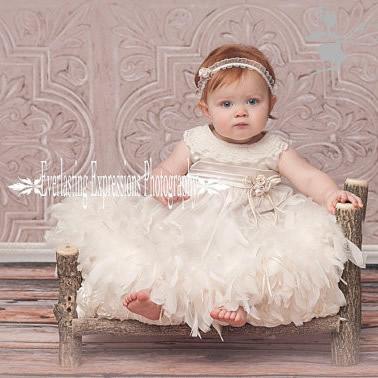 0才1才2才 かわいい衣装 ベビーフェザードレス 「Cute Baby Feather Dress」 3monthsから24months