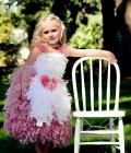ストレッチレース&マラボーショルダー☆ふんわりフェザードレス【Cotton Candy Couture】1歳から10歳