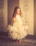 サテンローズトップ&2層フェザーのガウンドレス☆【An Enchanted Heirloom】2歳から8歳 採寸オーダーOK
