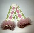 ベビーレッグウォーマー☆グリーン&ピンクのダイヤ柄♪フリルがかわいい!0−2才