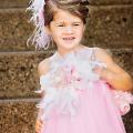 ふんわりピンクのフェザードレス「Pink Puffy Feathered Dress」1歳から6歳
