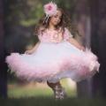 かわいいピンク色のフェザーフリルドレス「Pretty In Pinks Girls Feather Ruffled Dress」1歳から14歳