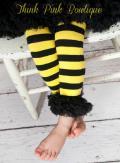 ベビーレッグウォーマー☆イエロー&ブラックのミツバチ柄♪0ー2才