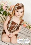 ロンパース&ヴィンテージヘッドドレス☆ブラウン newborn-4T【2点セット♪】