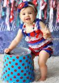ロンパース&ヴィンテージヘッドドレス☆トリコロールカラー newborn-4T【2点セット♪】