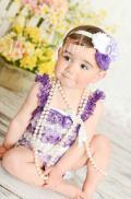 ロンパース&ヴィンテージヘッドドレス☆ブラウン、パープル&ホワイト newborn-4T【2点セット♪】