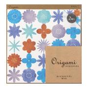 オリガミ<15角> 水彩 花柄 青