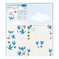 カラー色紙 シール付 青い鳥柄 (33179006)