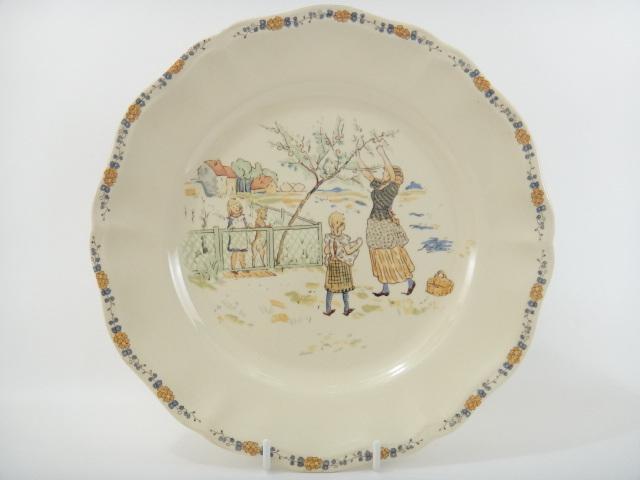 フランス アンティーク皿 ENFANTS RICHARD 木の実 SARREGUEMINES製