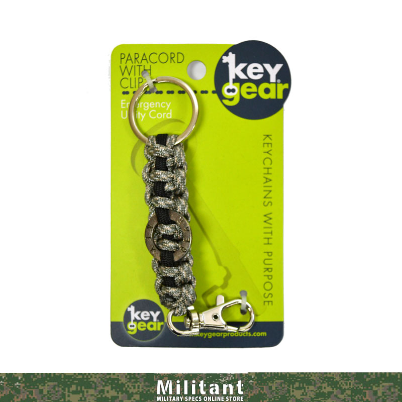 keygear パラコード&クリップ ブラックxグレーカモ