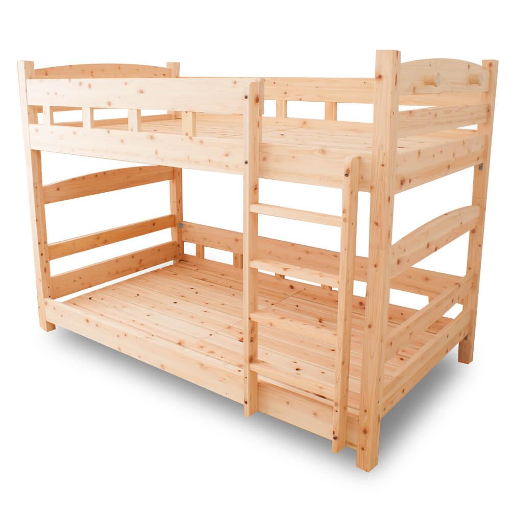 二段ベッド コンパクト 国産ひのき二段ベッド 島根県産高知四万十産ひのきを使いました SG規格合格の安全性