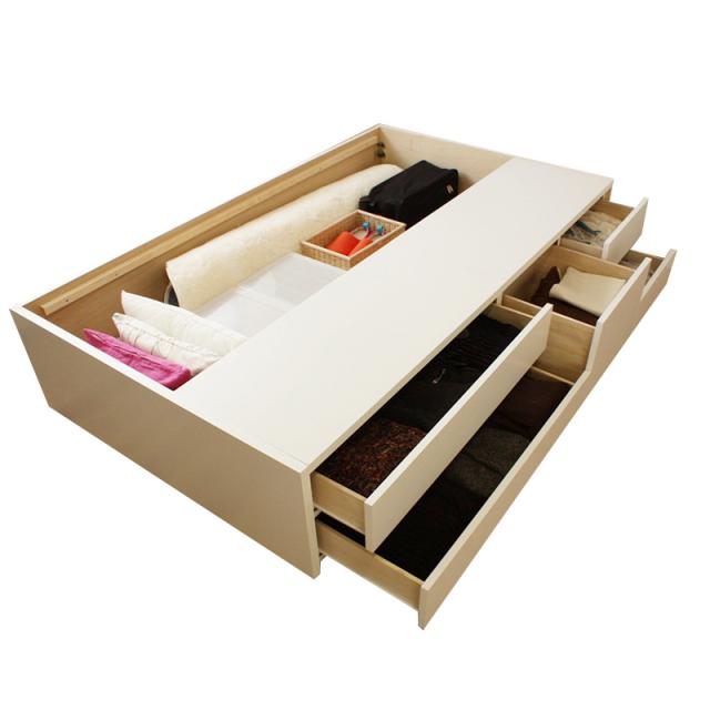収納ベッド |日本製フレーム | 組立簡単五杯収納ベッド | ヘッドレスor棚コンセント