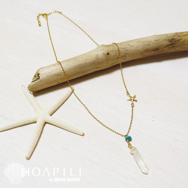 hp_n27 ストーンデザインの14KGFネックレス Turquoise&Crystal