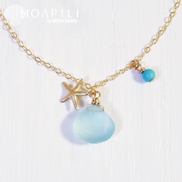 hp_n46 ヒトデとビーチグラスのような天然石の14KGFネックレス  Beach Glass&Sea Star
