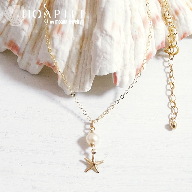 hp_n58 14KGFのネックレス White Fresh Water Pearl&Sea Star