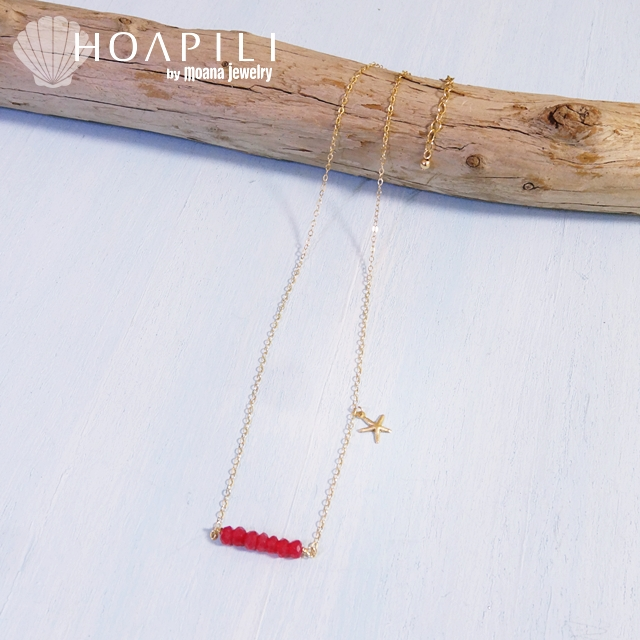 hp_n68 ヒトデチャームと天然石の14KGFネックレス Berry